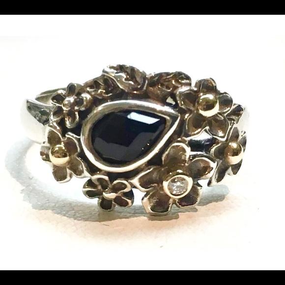 b270015f2 Sales Pandora Pandora Alphabet Charm V Silver Pandora DIAMOND ONYX Dew Drops  on Flowers Ring !